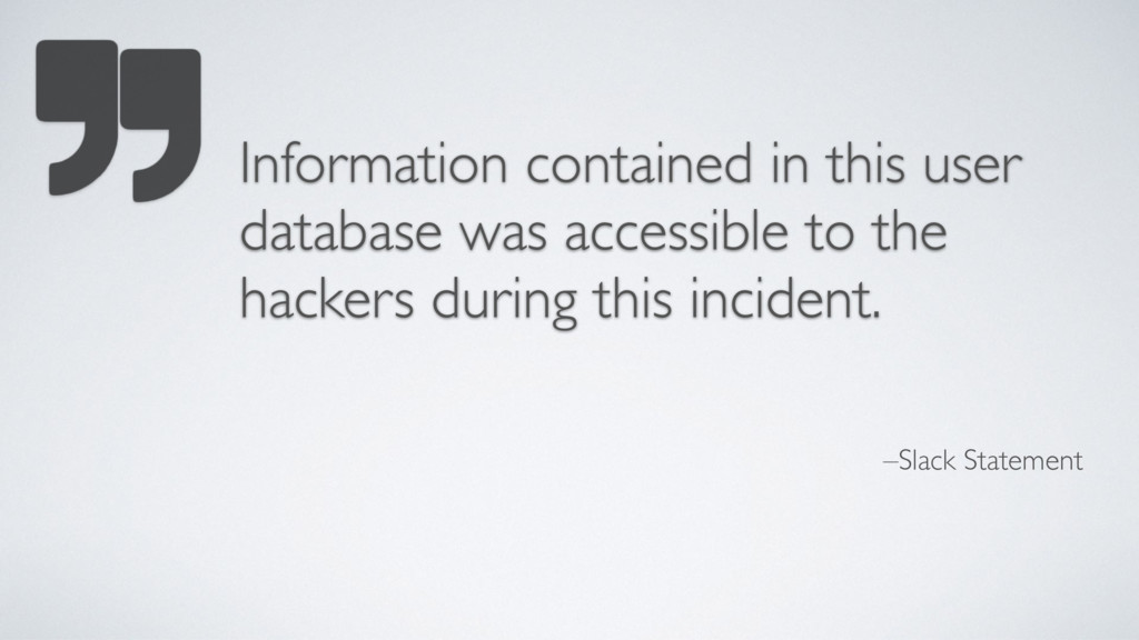 –Slack Statement Information contained in this ...