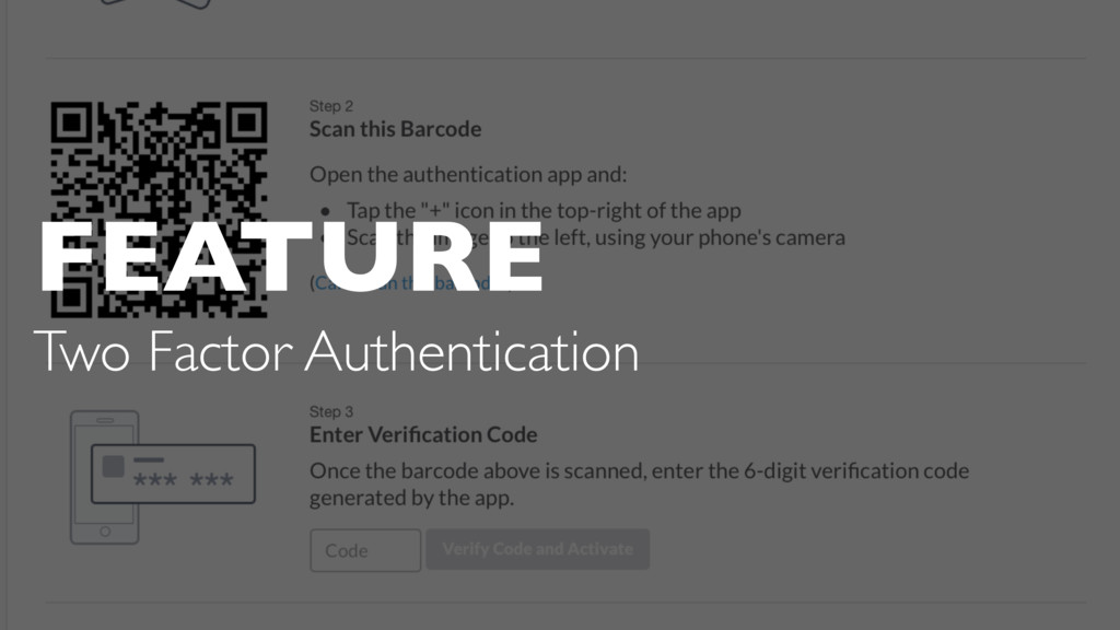 FEATURE Two Factor Authentication