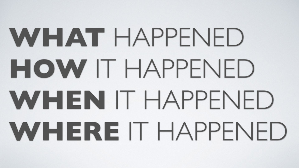 WHAT HAPPENED HOW IT HAPPENED WHEN IT HAPPENED ...