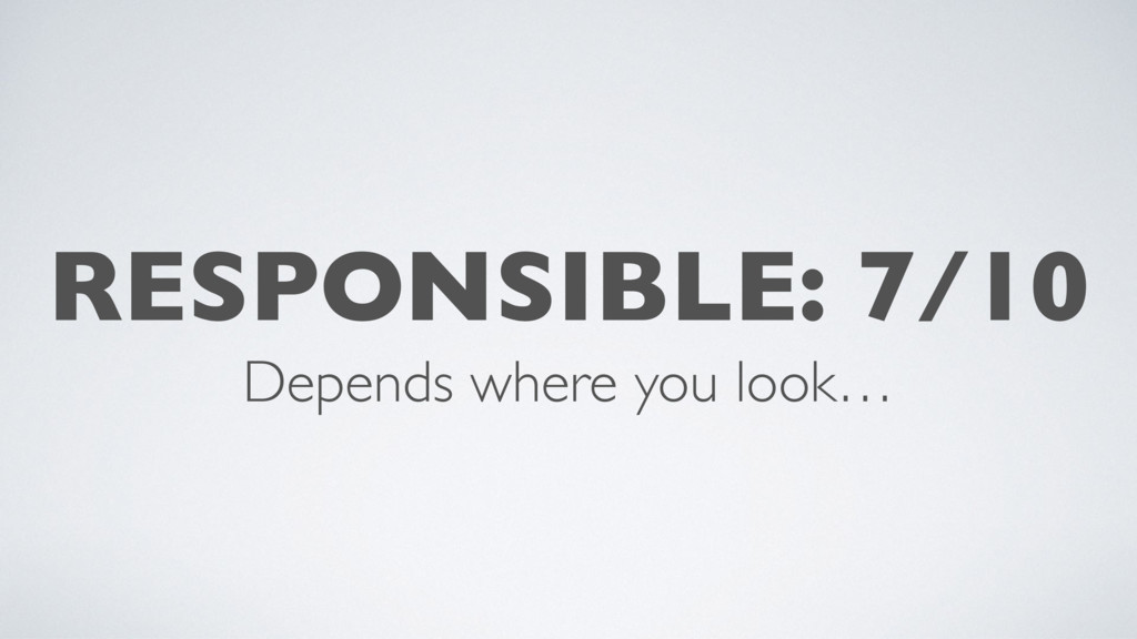 RESPONSIBLE: 7/10 Depends where you look…