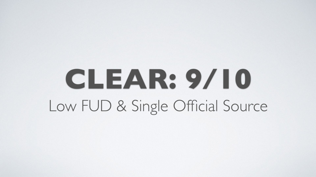 CLEAR: 9/10 Low FUD & Single Official Source