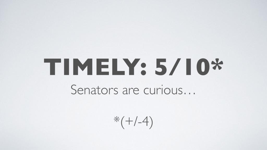 TIMELY: 5/10* Senators are curious…  *(+/-4)