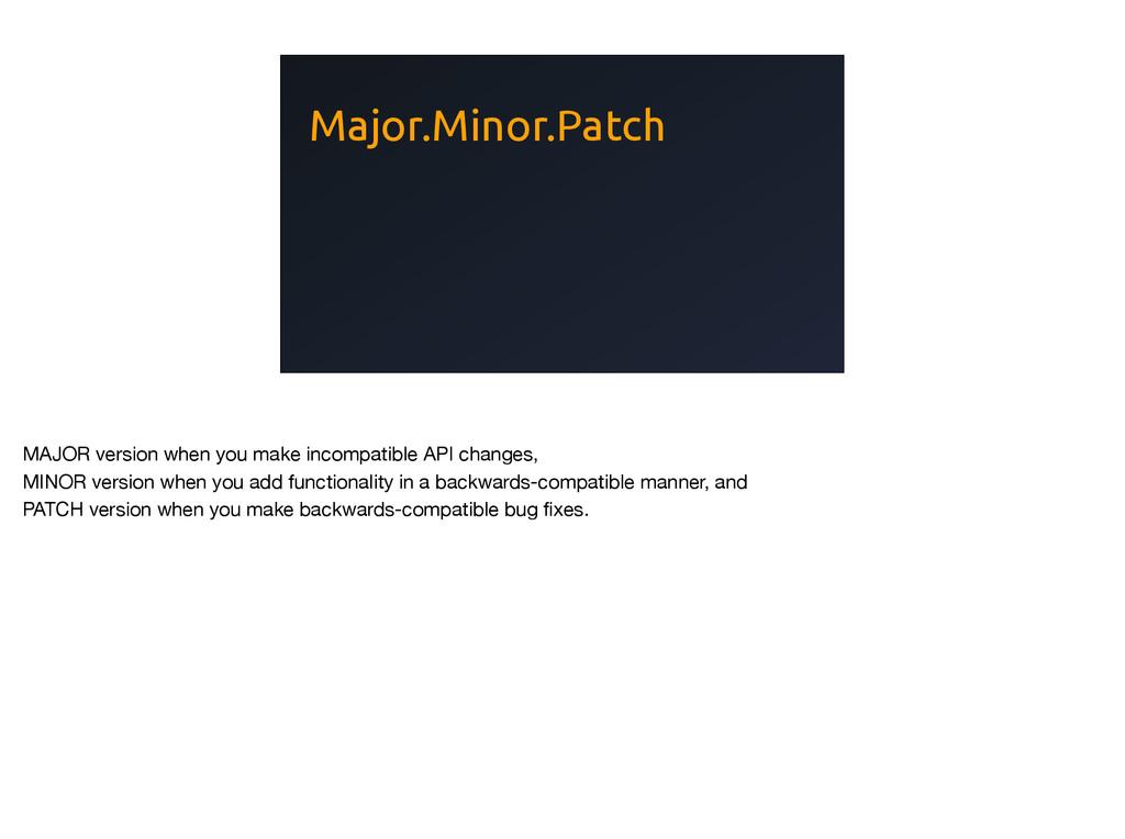 Major.Minor.Patch MAJOR version when you make i...