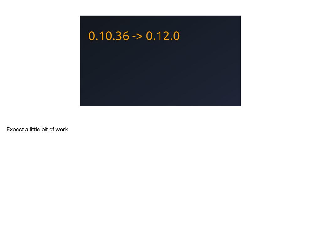 0.10.36 -> 0.12.0 Expect a little bit of work