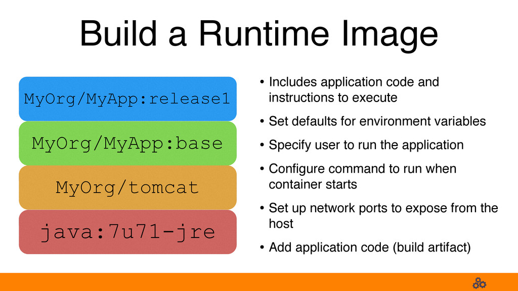 Build a Runtime Image • Includes application co...