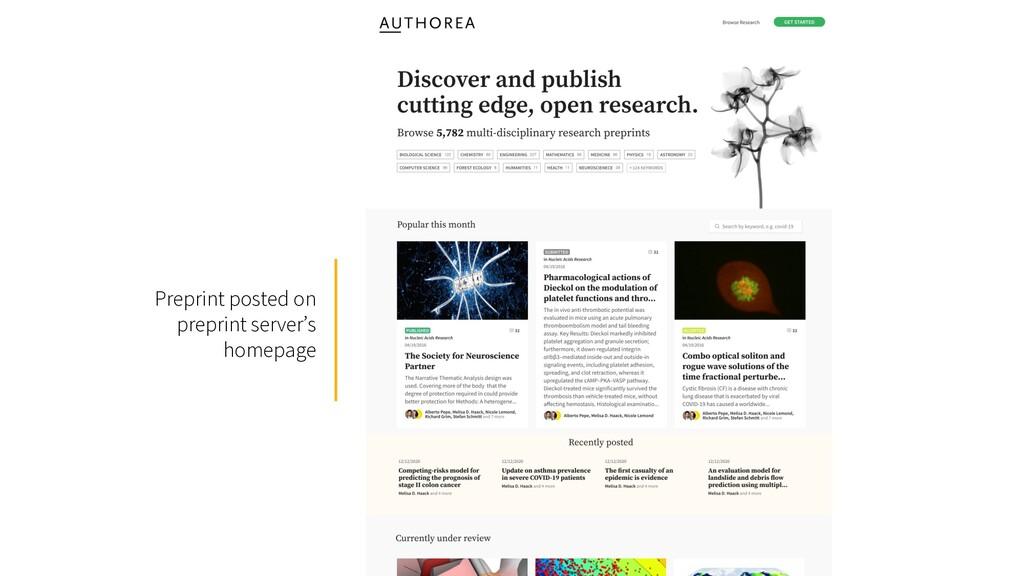 Preprint posted on preprint server's homepage