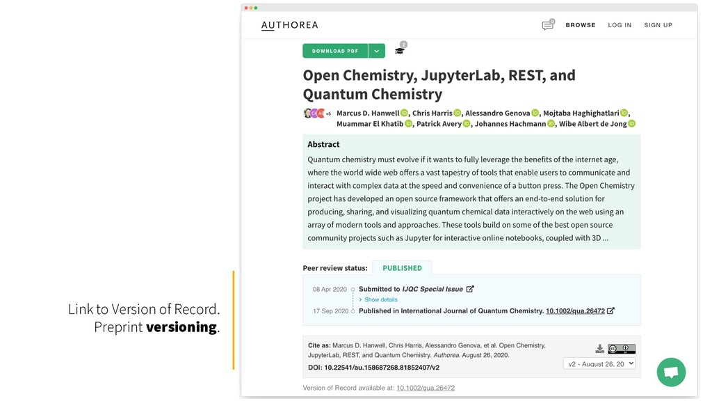 Link to Version of Record. Preprint versioning.