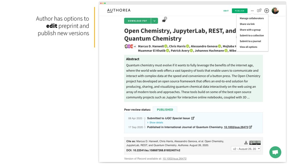 Author has options to edit preprint and publish...