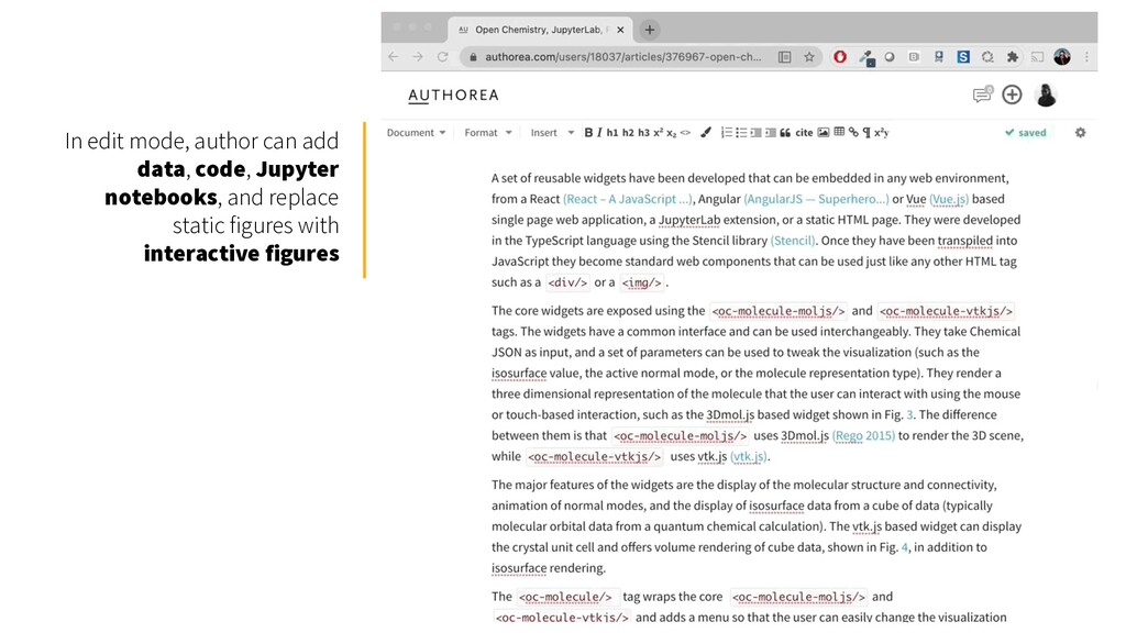 In edit mode, author can add data, code, Jupyte...