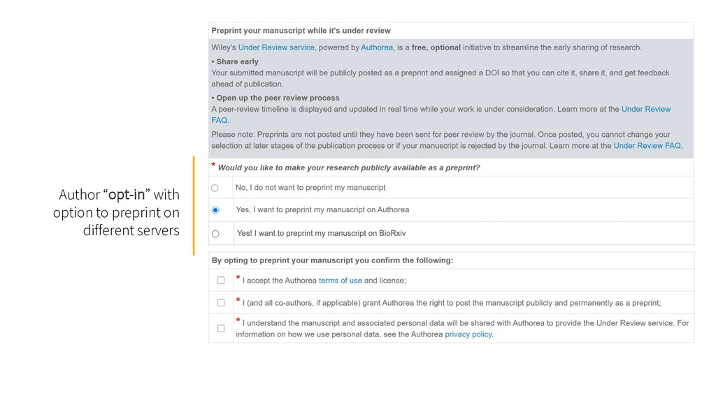 """Author """"opt-in"""" with option to preprint on diff..."""