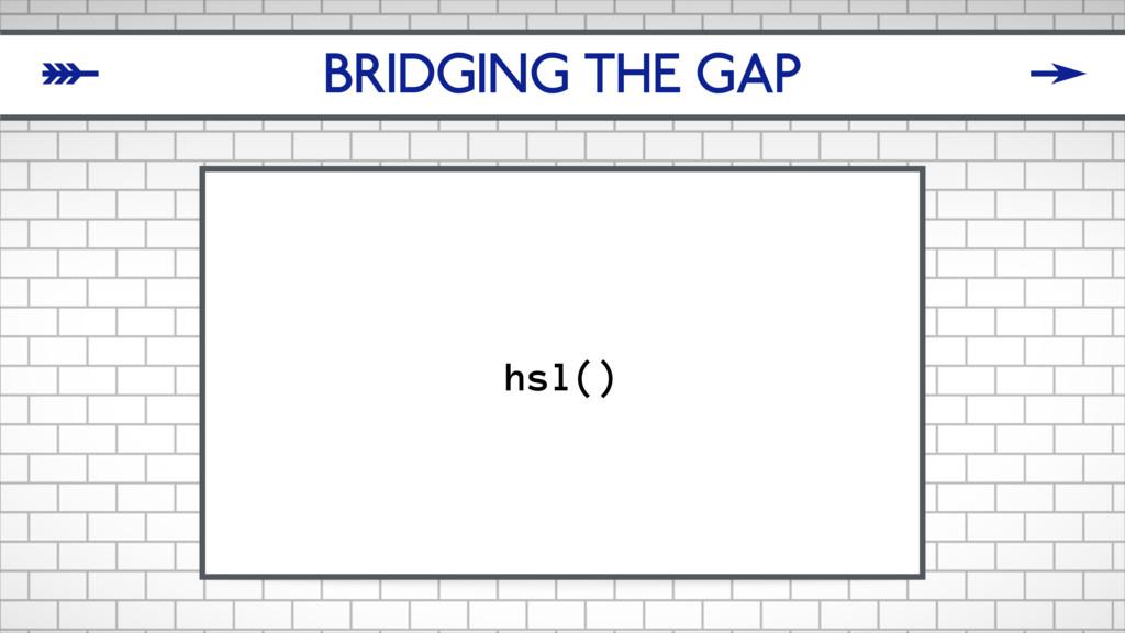 BRIDGING THE GAP hsl() δ ζ