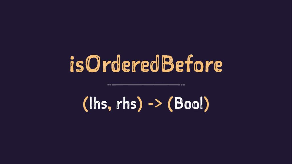 isOrderedBefore (lhs, rhs) -> (Bool)