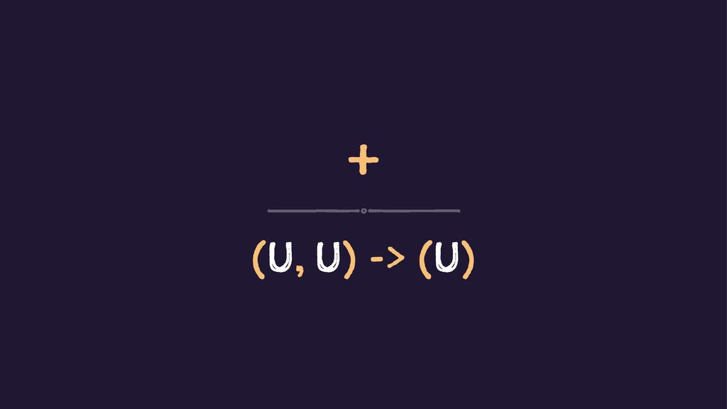 + (U, U) -> (U)
