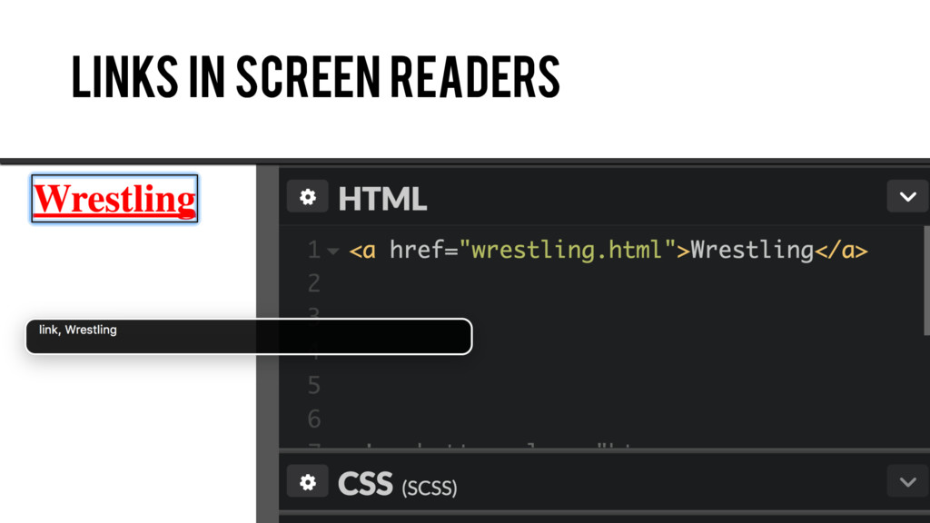 Links in screen readers