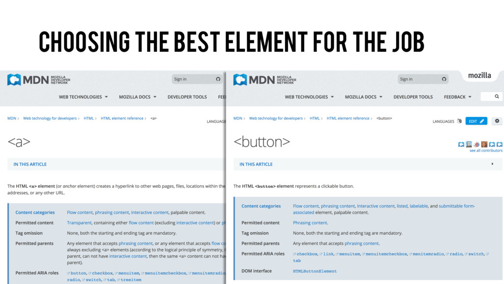 Choosing the best element for the job