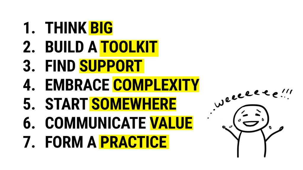 1. THINK BIG 2. BUILD A TOOLKIT 3. FIND SUPPORT...