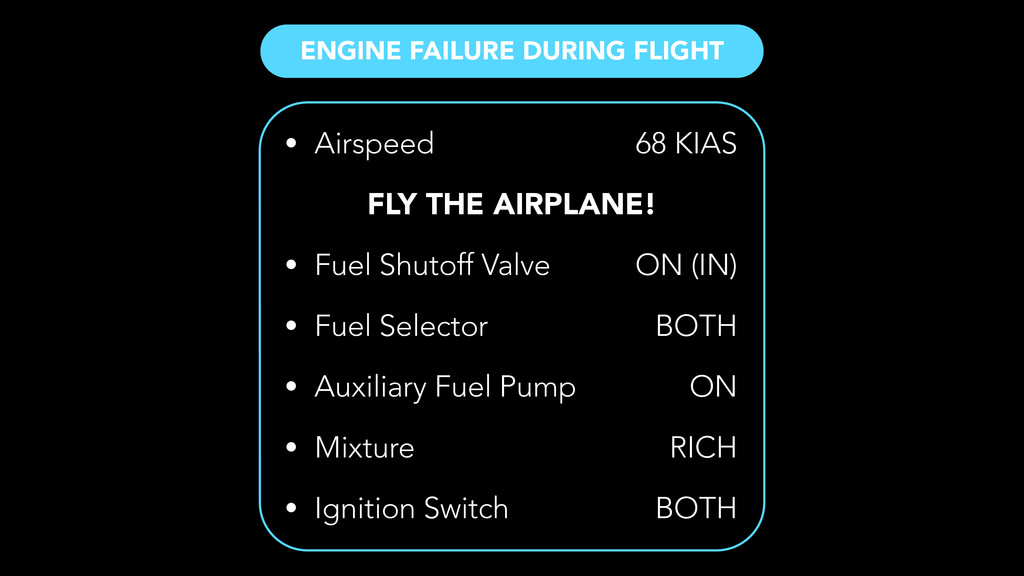 ENGINE FAILURE DURING FLIGHT • Airspeed ! • Fue...