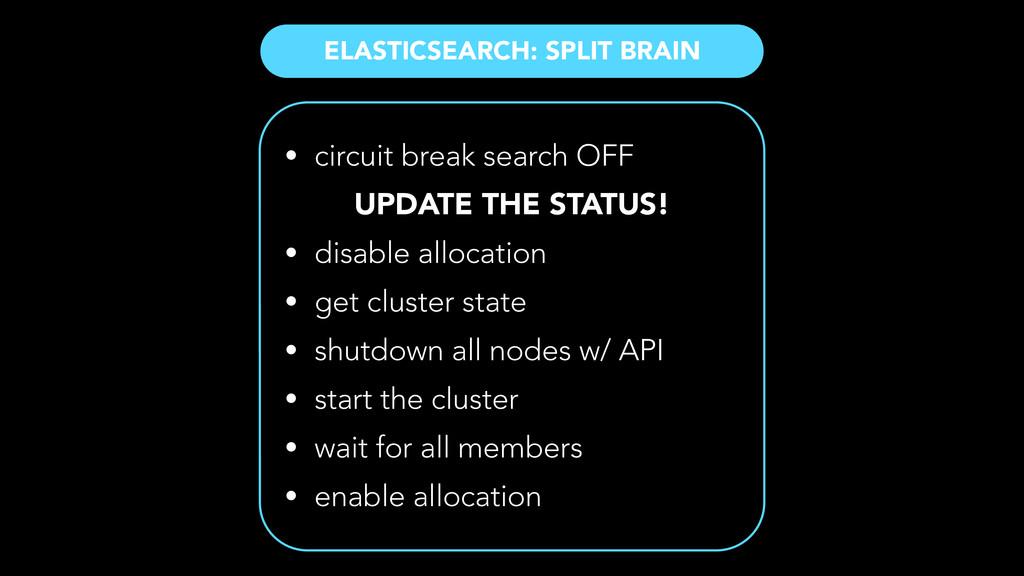 ELASTICSEARCH: SPLIT BRAIN • circuit break sear...