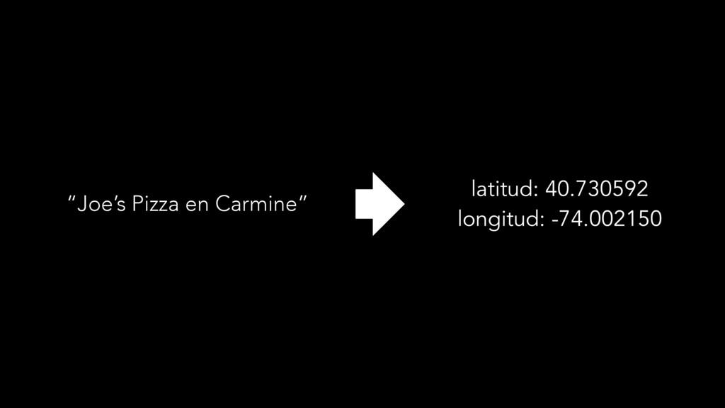 """""""Joe's Pizza en Carmine"""" latitud: 40.730592 lon..."""
