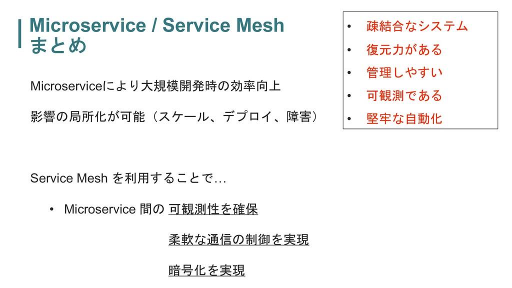 Microservice / Service Mesh   Microservice...