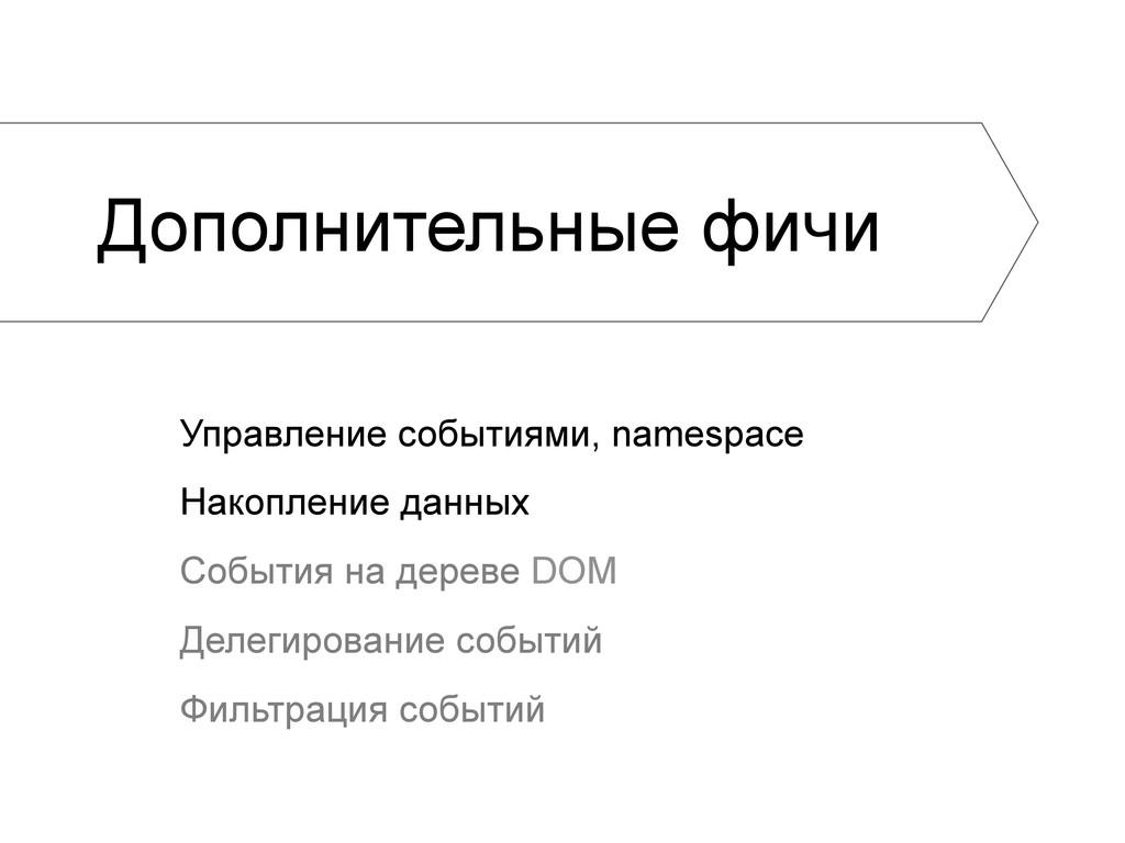 Дополнительные фичи Управление событиями, names...