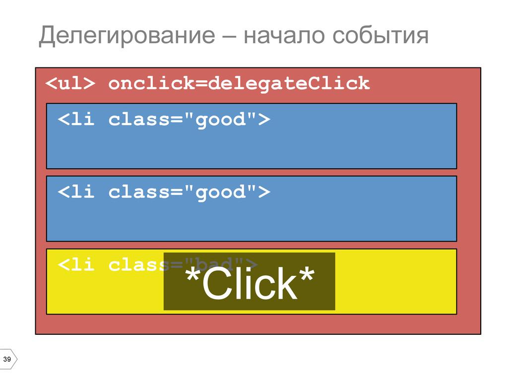 39 <ul> onclick=delegateClick Делегирование – н...