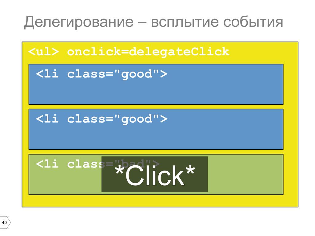 40 <ul> onclick=delegateClick Делегирование – в...