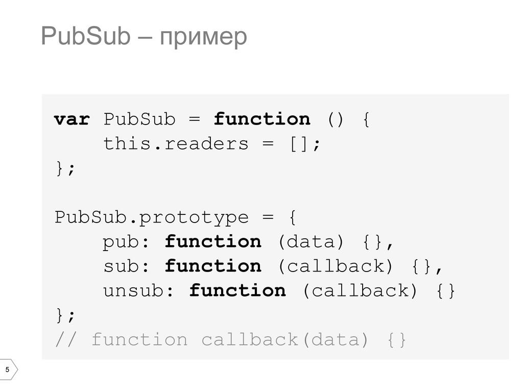 5 var PubSub = function () { this.readers = [];...