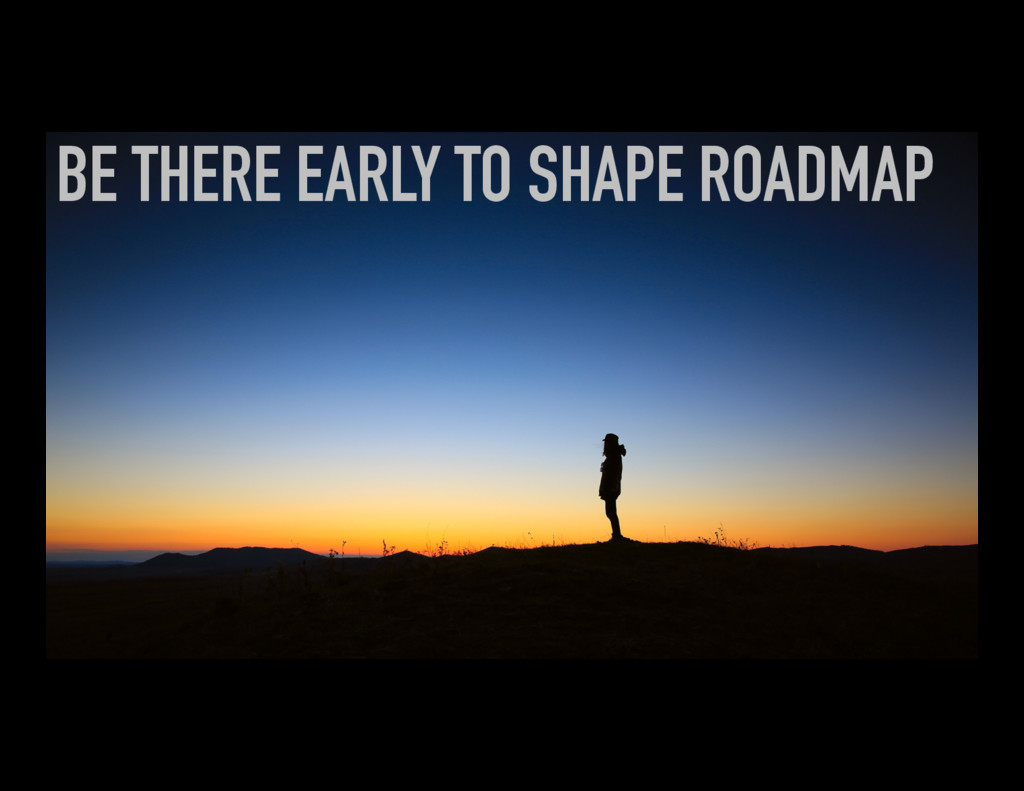 BE THERE EARLY TO SHAPE ROADMAP