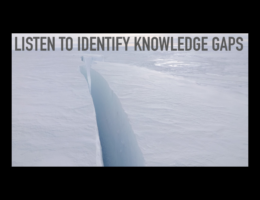 LISTEN TO IDENTIFY KNOWLEDGE GAPS