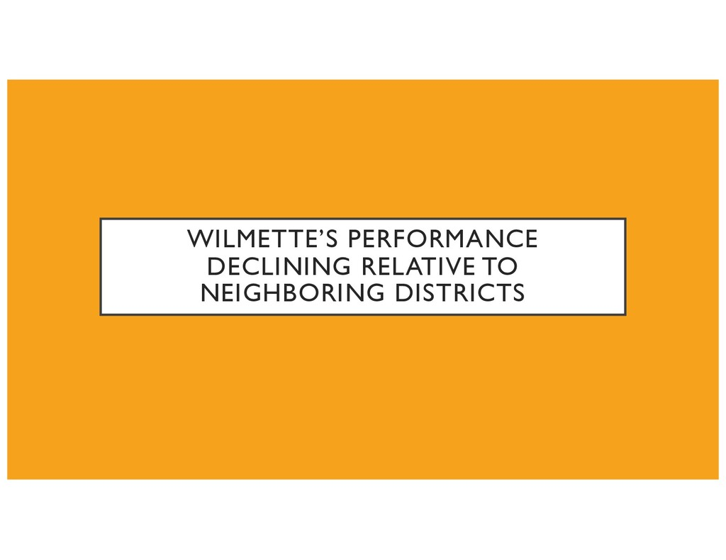 WILMETTE'S PERFORMANCE DECLINING RELATIVE TO NE...