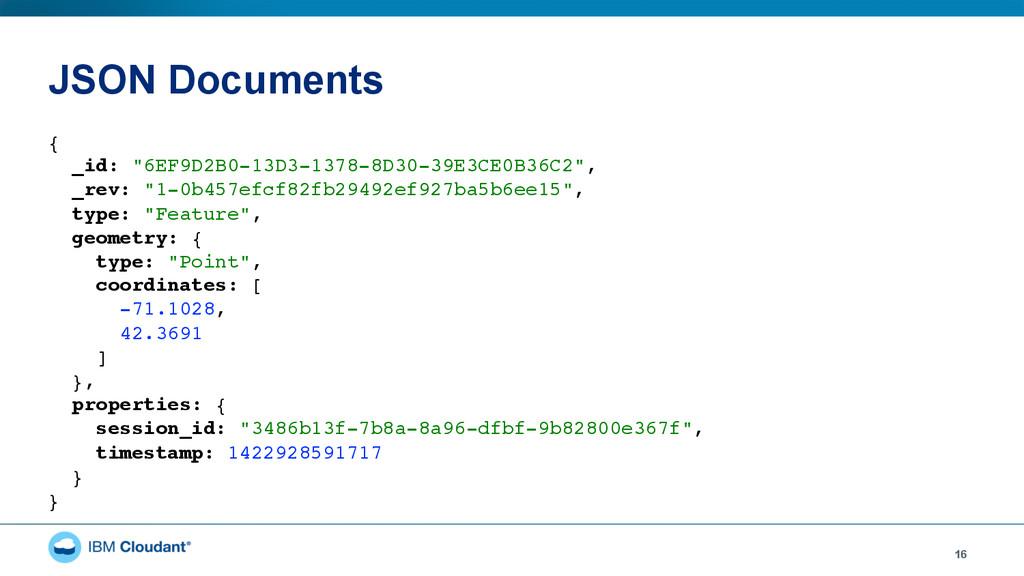 "JSON Documents 16 { _id: ""6EF9D2B0-13D3-1378-8..."