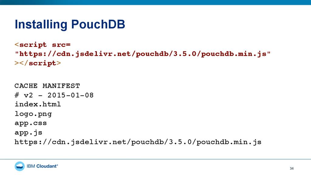 "Installing PouchDB 34 <script src= ""https://cd..."