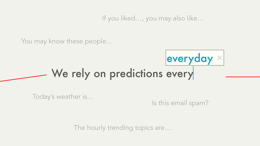 We rely on predictions every everyday × Today's...