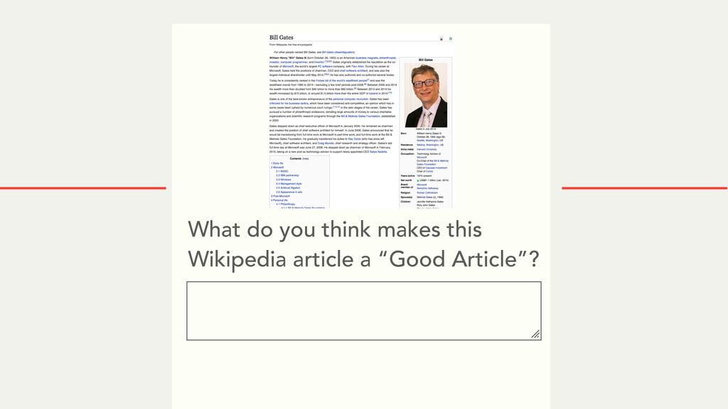 What do you think makes this Wikipedia article ...