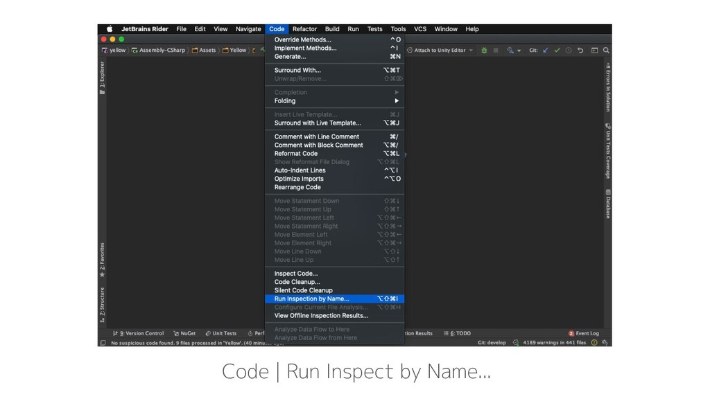 Code | Run Inspect by Name...