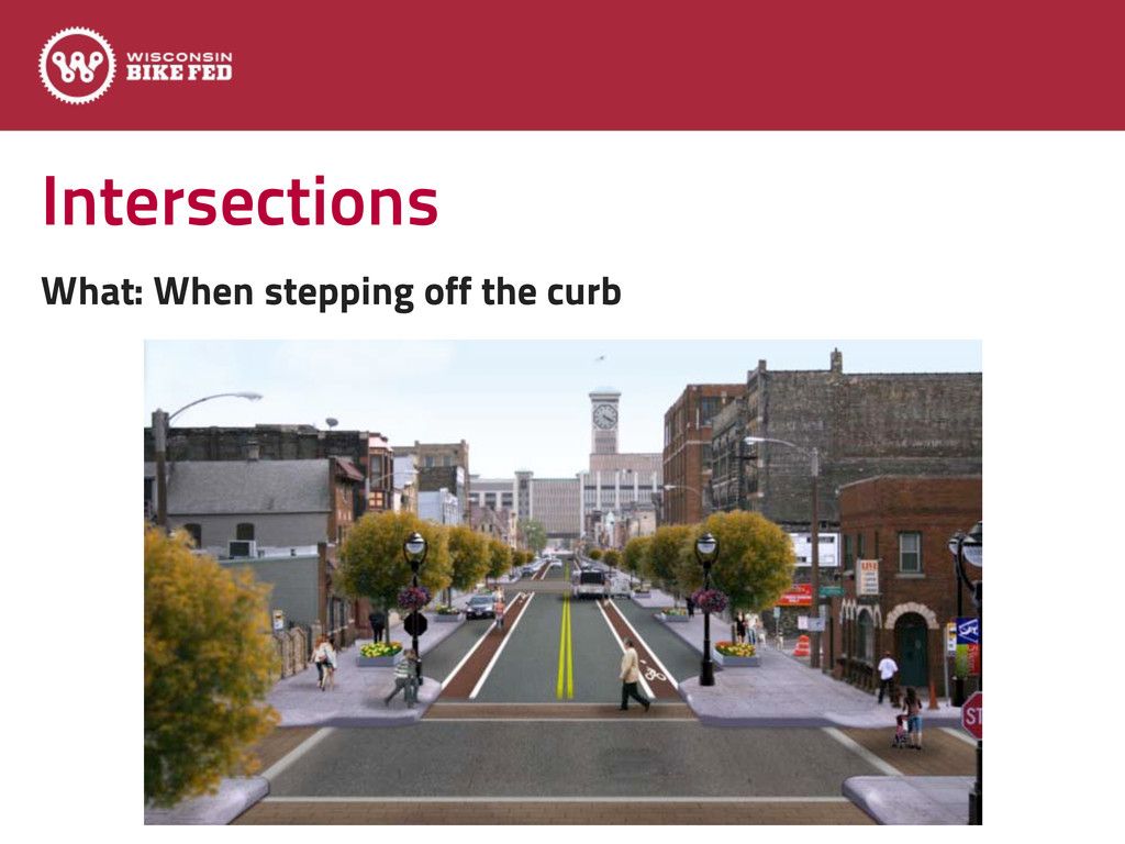 Intersections What: When stepping off the curb