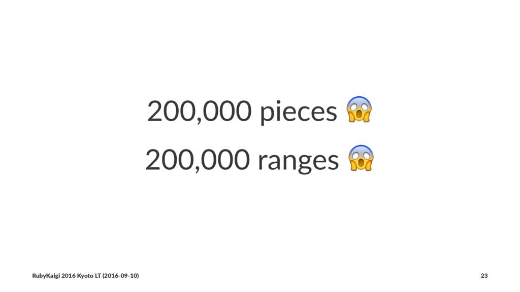 200,000 pieces ! 200,000 ranges ! RubyKaigi 201...