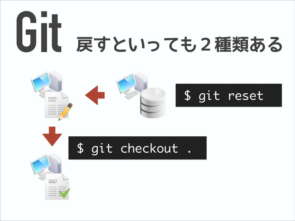 Git 戻すといっても2種類ある $ git checkout . $ git reset
