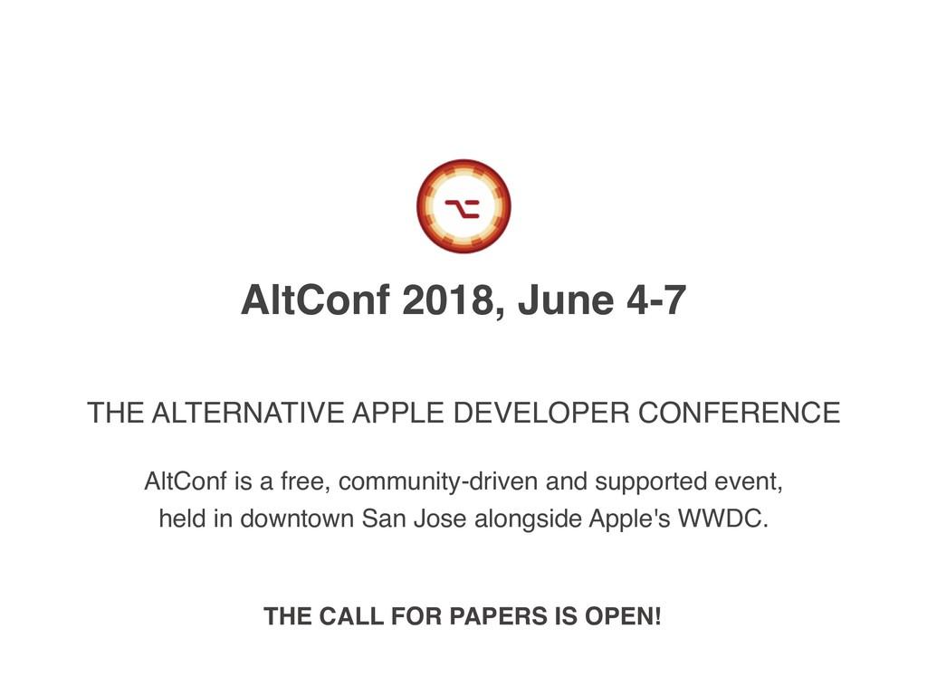 AltConf 2018, June 4-7 THE ALTERNATIVE APPLE DE...