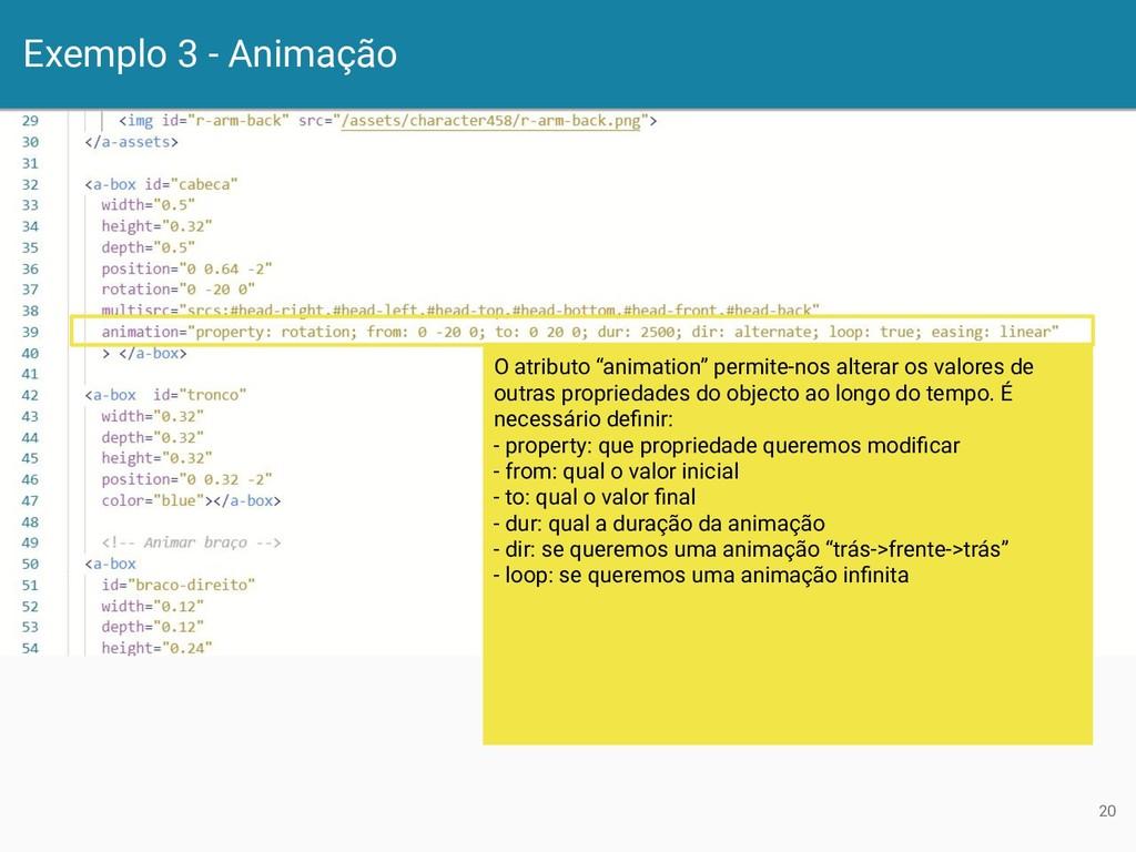 """Exemplo 3 - Animação 20 O atributo """"animation"""" ..."""