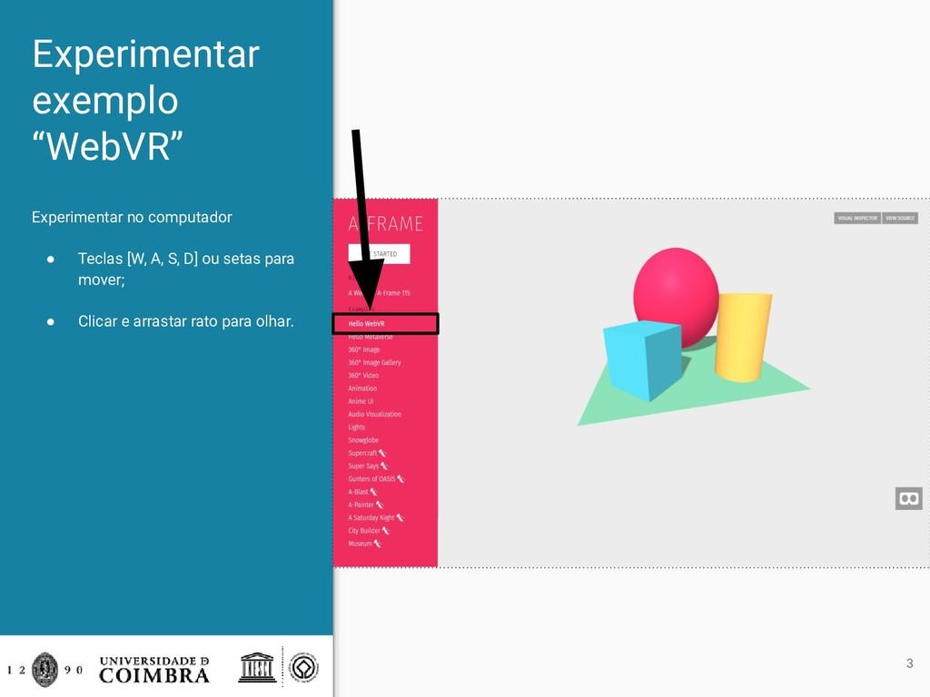 """Experimentar exemplo """"WebVR"""" Experimentar no co..."""