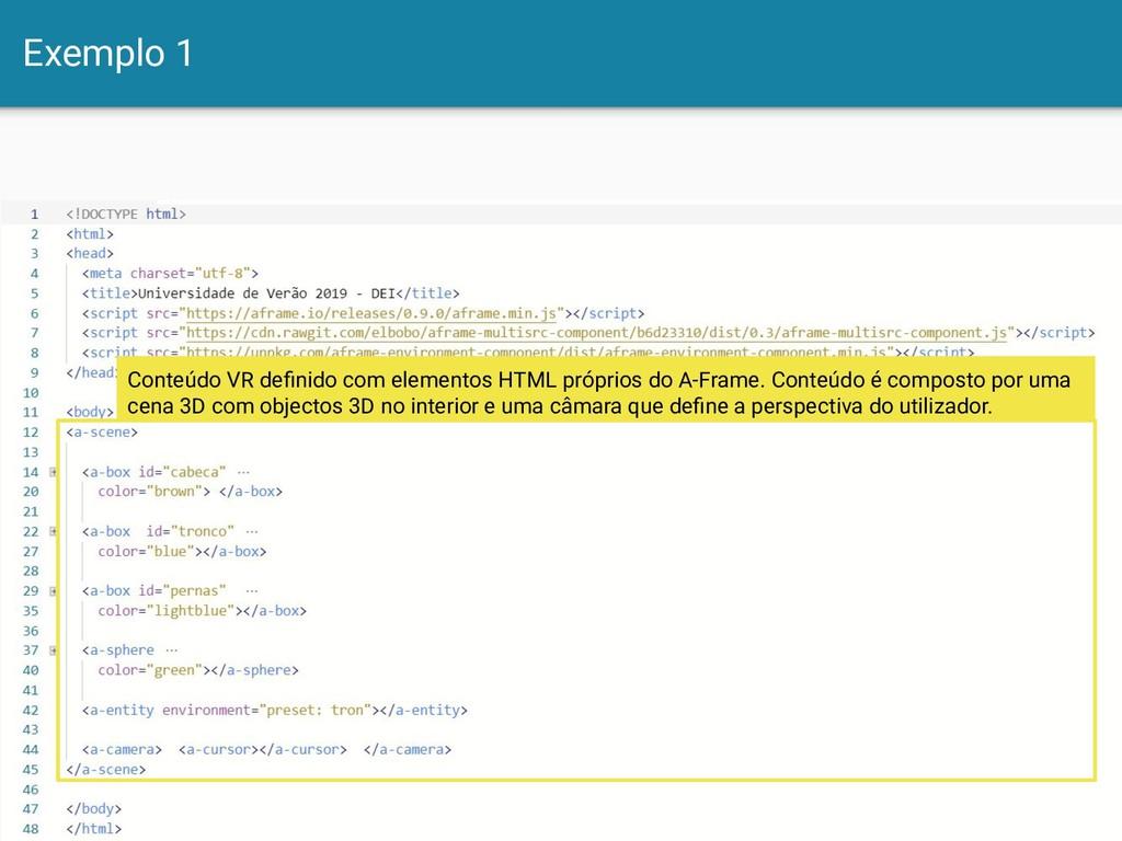 Exemplo 1 7 Conteúdo VR definido com elementos H...