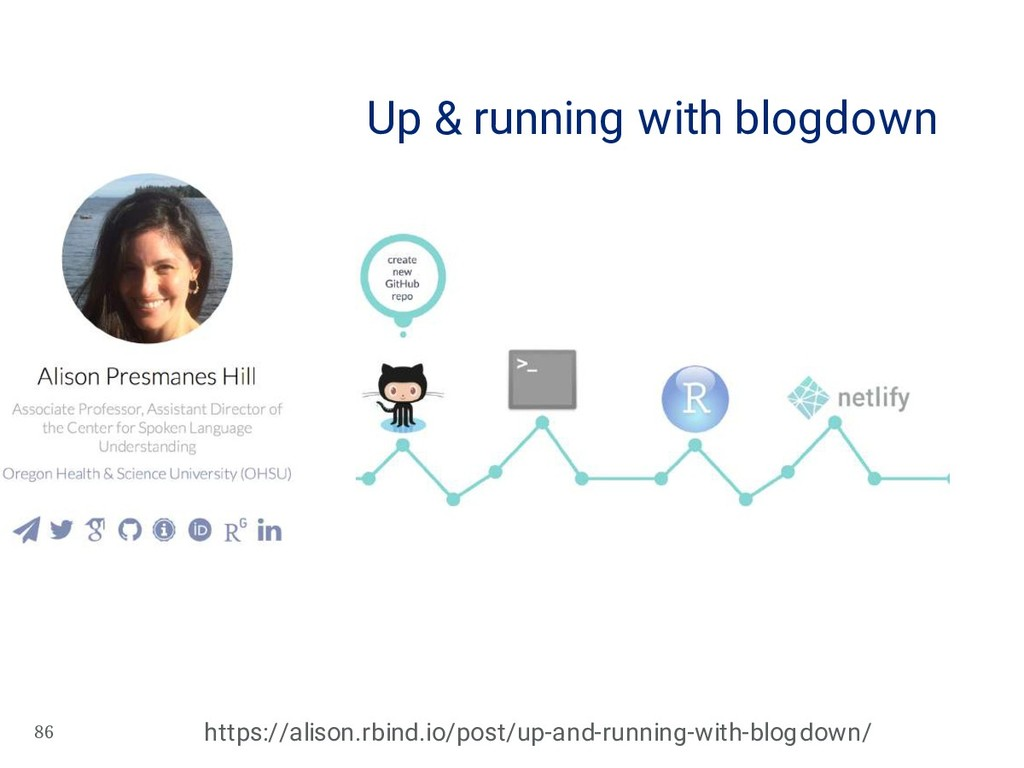 86 Up & running with blogdown https://alison.rb...