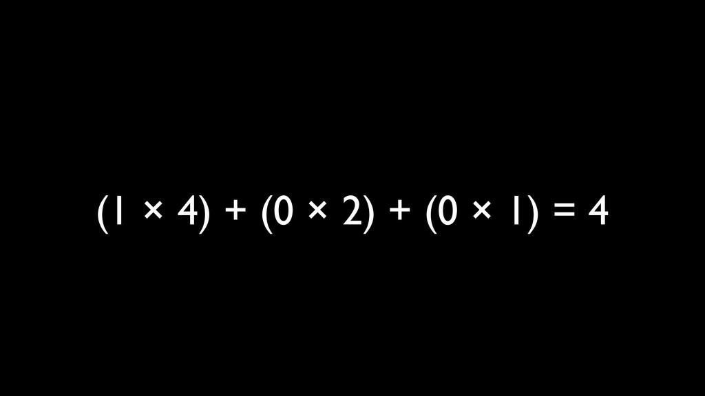 (1 × 4) + (0 × 2) + (0 × 1) = 4