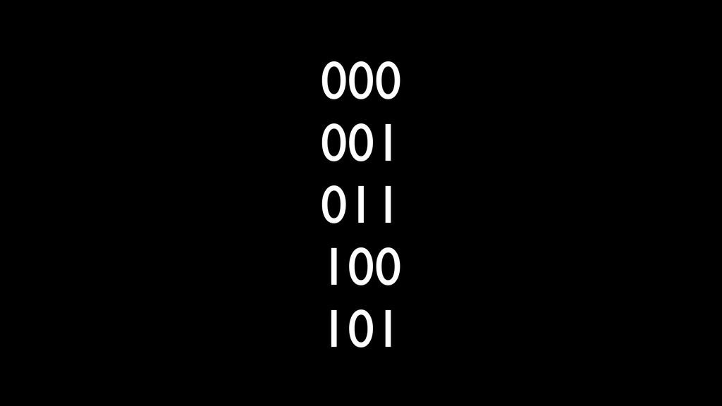 000 001 011 100 101