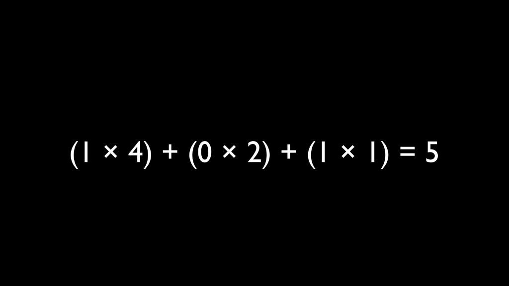 (1 × 4) + (0 × 2) + (1 × 1) = 5