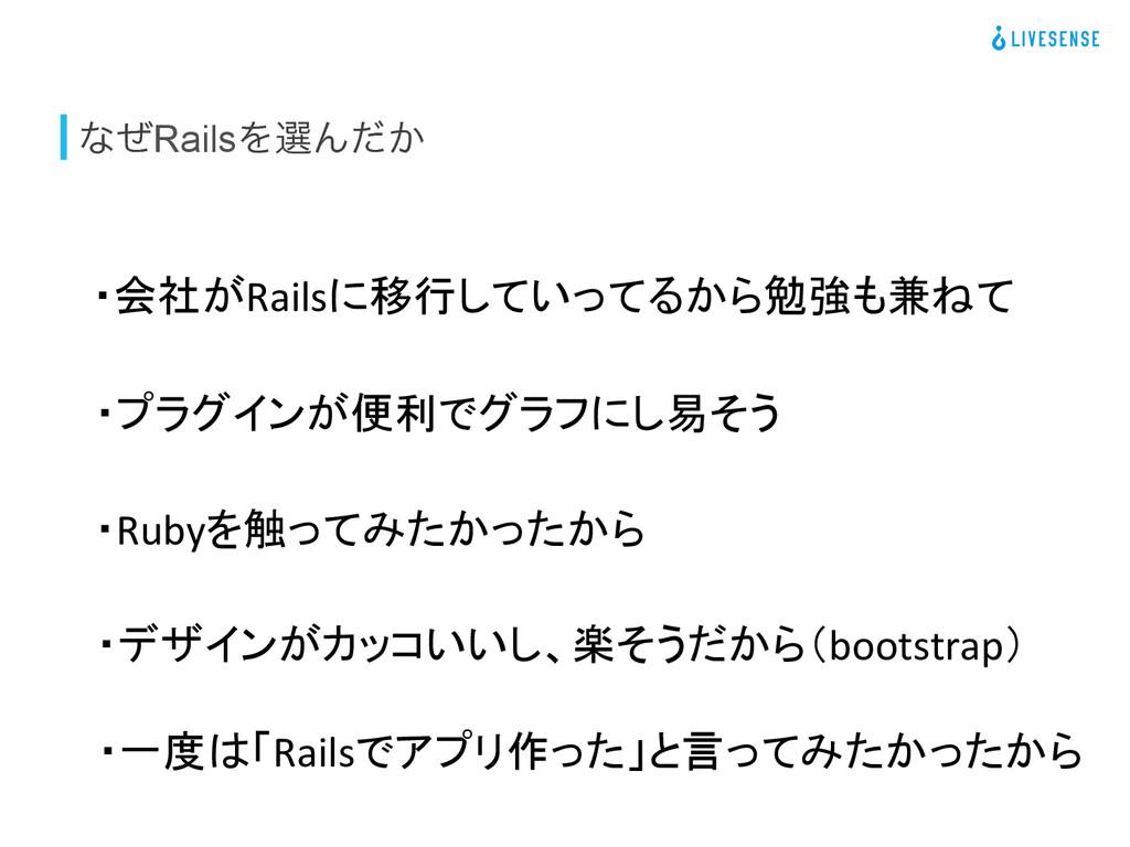 ͳͥRailsΛબΜ͔ͩ ・会社がRailsに移行していってるから勉強も兼ねて ・Ruby...