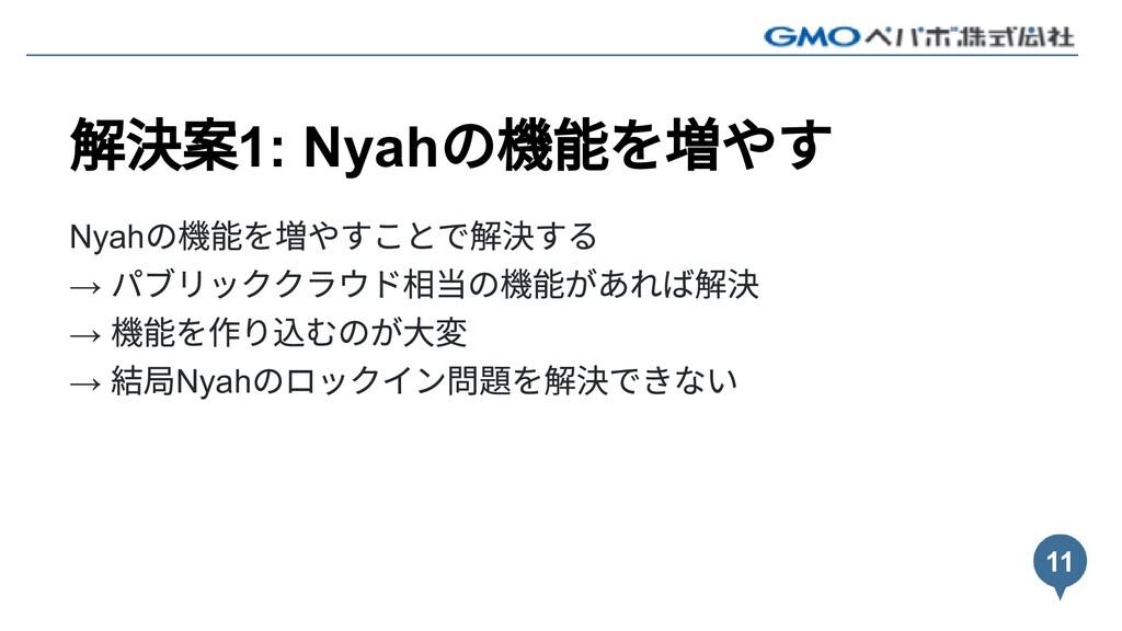 解決案1: Nyah の機能を増やす Nyah の機能を増やすことで解決する → パブリックク...