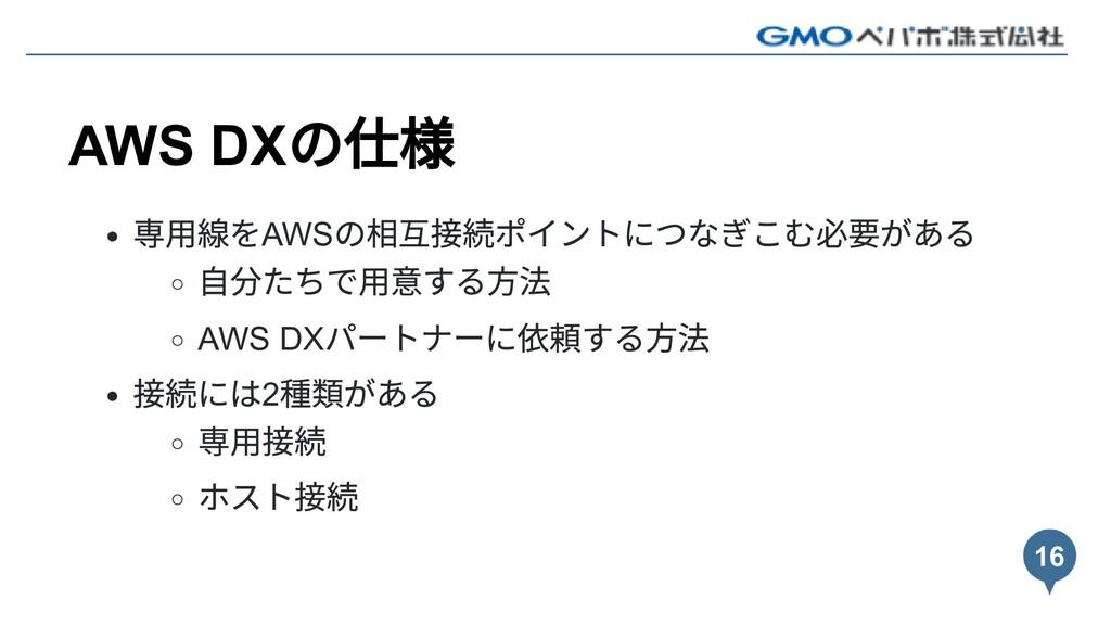 AWS DX の仕様 専⽤線をAWS の相互接続ポイントにつなぎこむ必要がある ⾃分たちで⽤意...